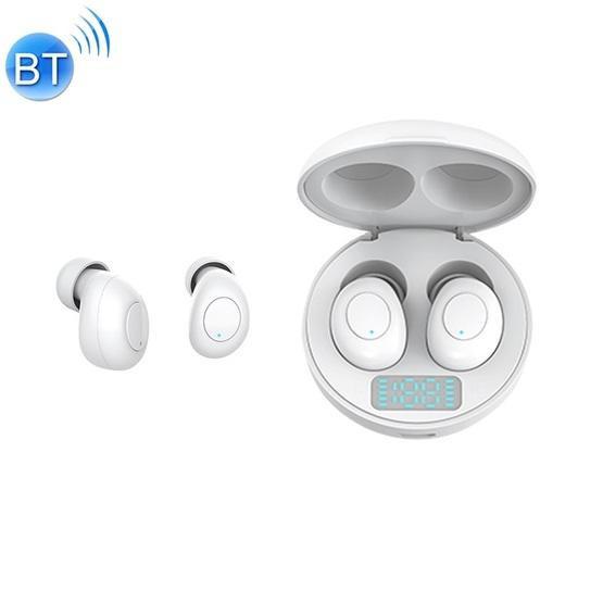 J1 TWS Digital Display Bluetooth V5.0 Wireless Earphones with LED Charging Box (White)