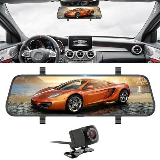 Car DVR - 10 inch 140 Degrees Wide Angle 1080P Front Camera Starlight Night Vision + Rear Camera