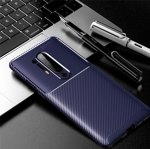 Carbon Fiber Texture Shockproof TPU Case for OnePlus 8 Pro (Blue)