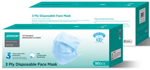 Disposable Face Mask -JOYROOM JR-CY302 3 ply 50pcs