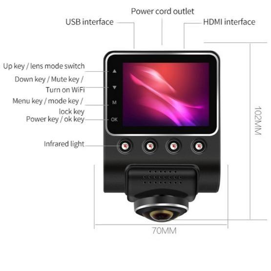 Car DVR - 360 Degree Panoramic WIFI Camera Night Vision (Car Charger Verion Single camera)