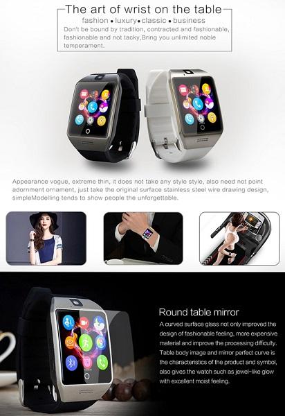 Q18S 1.54 inch Smart Watch Black Grey