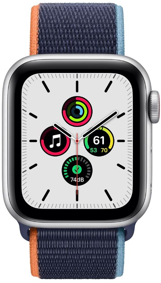 Apple Watch SE GPS + Cellular 40mm Silver Aluminium Case with Deep Navy Sport Loop