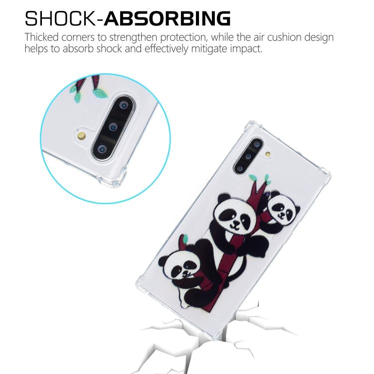 For Galaxy Note 10 Oil Embossed Pattern Anti-Drop TPU Case(Three Pandas)