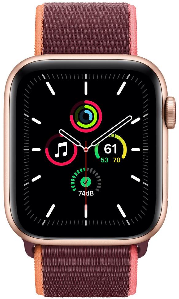 Apple Watch SE GPS + Cellular 44mm Gold Aluminium Case with Plum Sport Loop