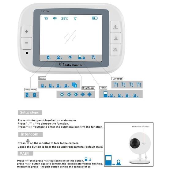 3.5 Inch Larger Screen Display Wireless Digital Monitoring Camera Baby Career  Monitor Wireless Baby Monitor SP851 (Black White) - EU Plug