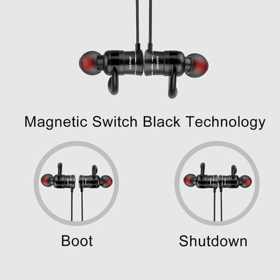 AWEI AK5 Sports Waterproof Wireless Bluetooth In-ear Headphone with Mic(Black)